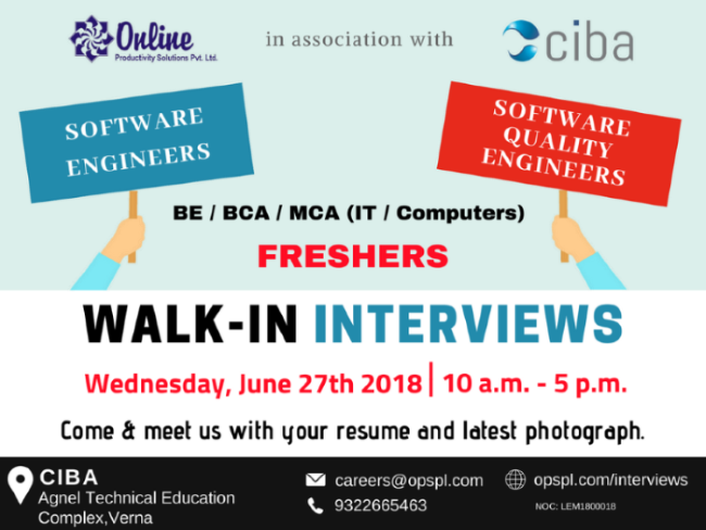 Walk in for QA & Software engineers