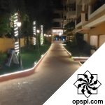 The resort pathway at night